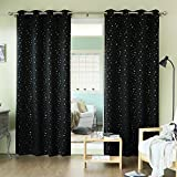 Best Home Fashion Gold Star Print Thermal Insulated Blackout Curtains – Grommet Top – Black – 52″ W x 84″ L – (Set of 2 Panels) For Sale
