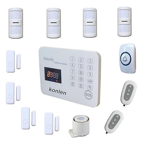 konlen LCD inteligente GSM sistema de alarma inalámbrica casa seguridad SMS de seguridad alarmas casas Kit para casa con Detector de movimiento PIR ...