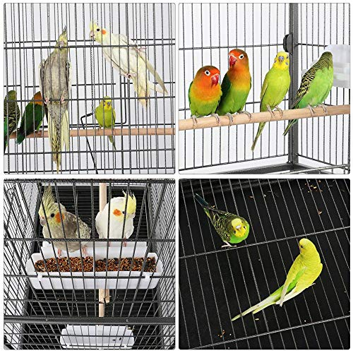 Yaheetech 52-inch Wrought Iron Standing Large Flight Bird Cage for African Grey Quaker Amazon Parrots Cockatiels Sun Parakeets Green Cheek Conures Pigeons Small Parrot Bird Cage with Stand