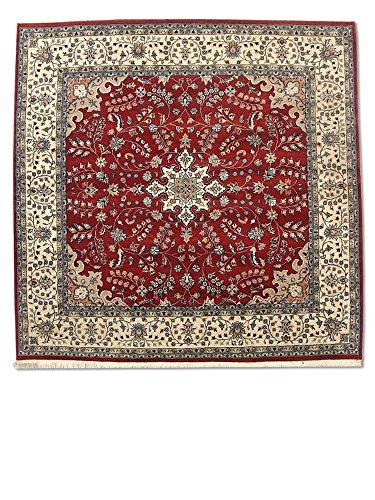Traditional Persian Handmade Kashan Square Rug, Wool, Burgundy/Red, 7' x 6' 10