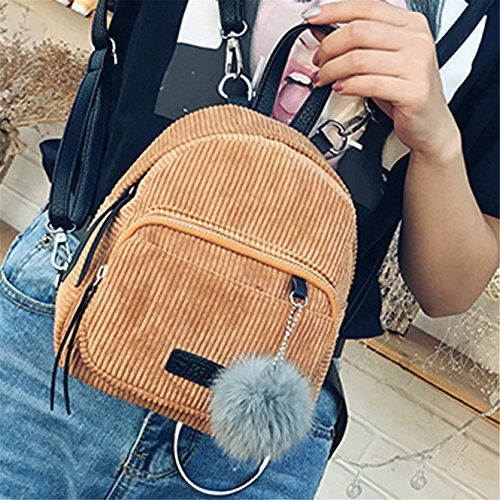 Ladies Yuan Bag Girls Daypacks Backpack Vintage School Women's Khaki Handbags Corduroy Travel SrwrqI