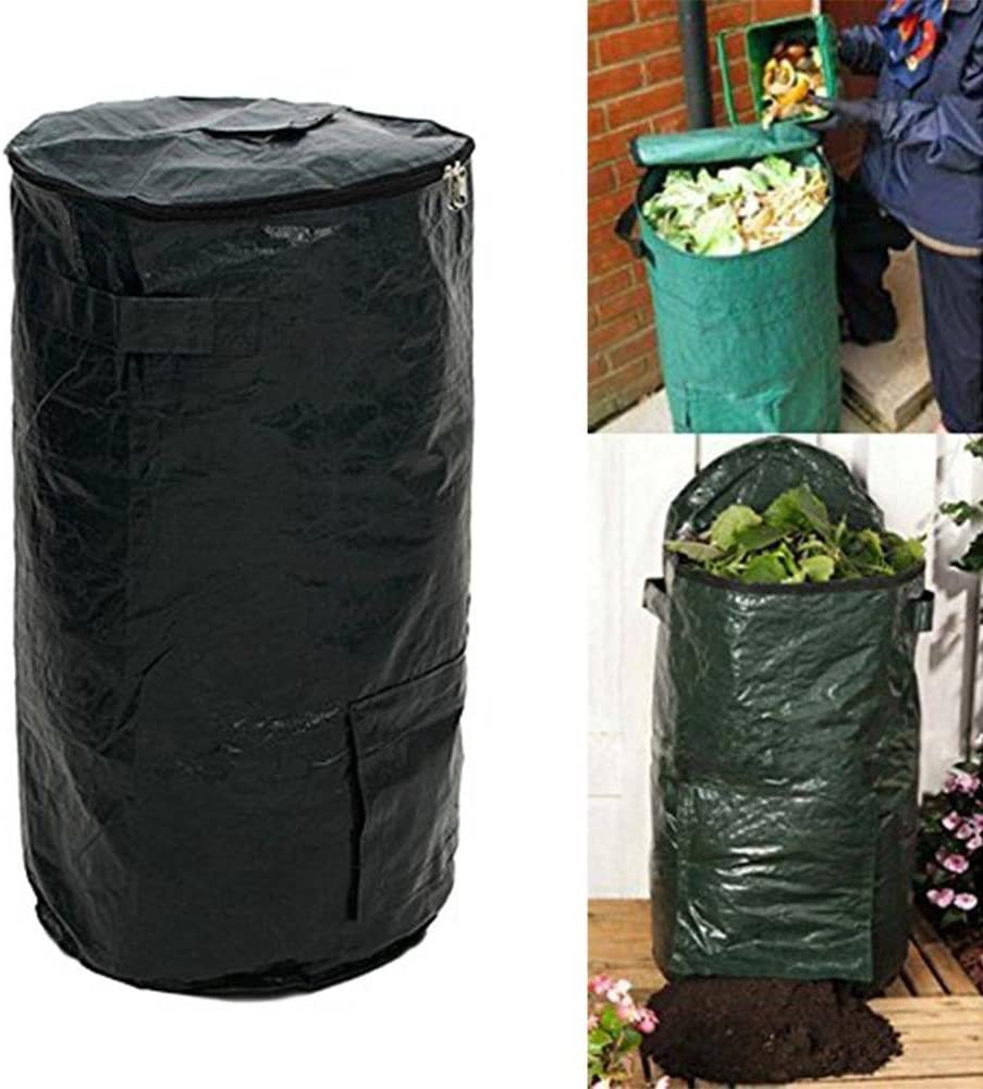 Vegetable Garden Lawn Boskage Or Etc Ausomely PE Compost Bag Ferment Kitchen Waste Disposal Homemade Organic Material PE Dark Green Be Used For Flowerbed