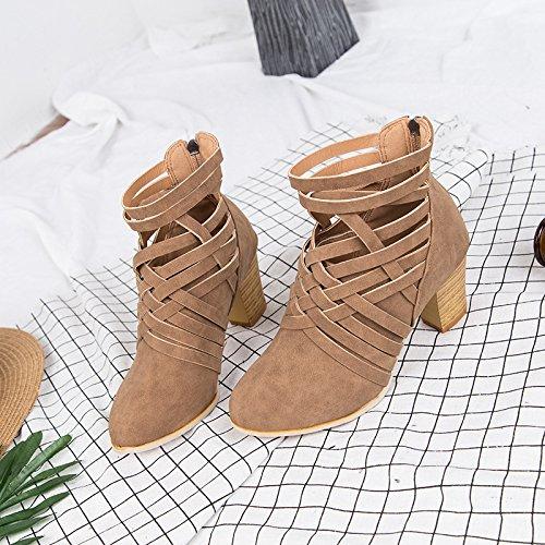 KHSKX-Nach Der Reißverschluss Mit Dicken Hochhackige Stiefel Schuhe Mode Schuhe Passen Thirty-seven