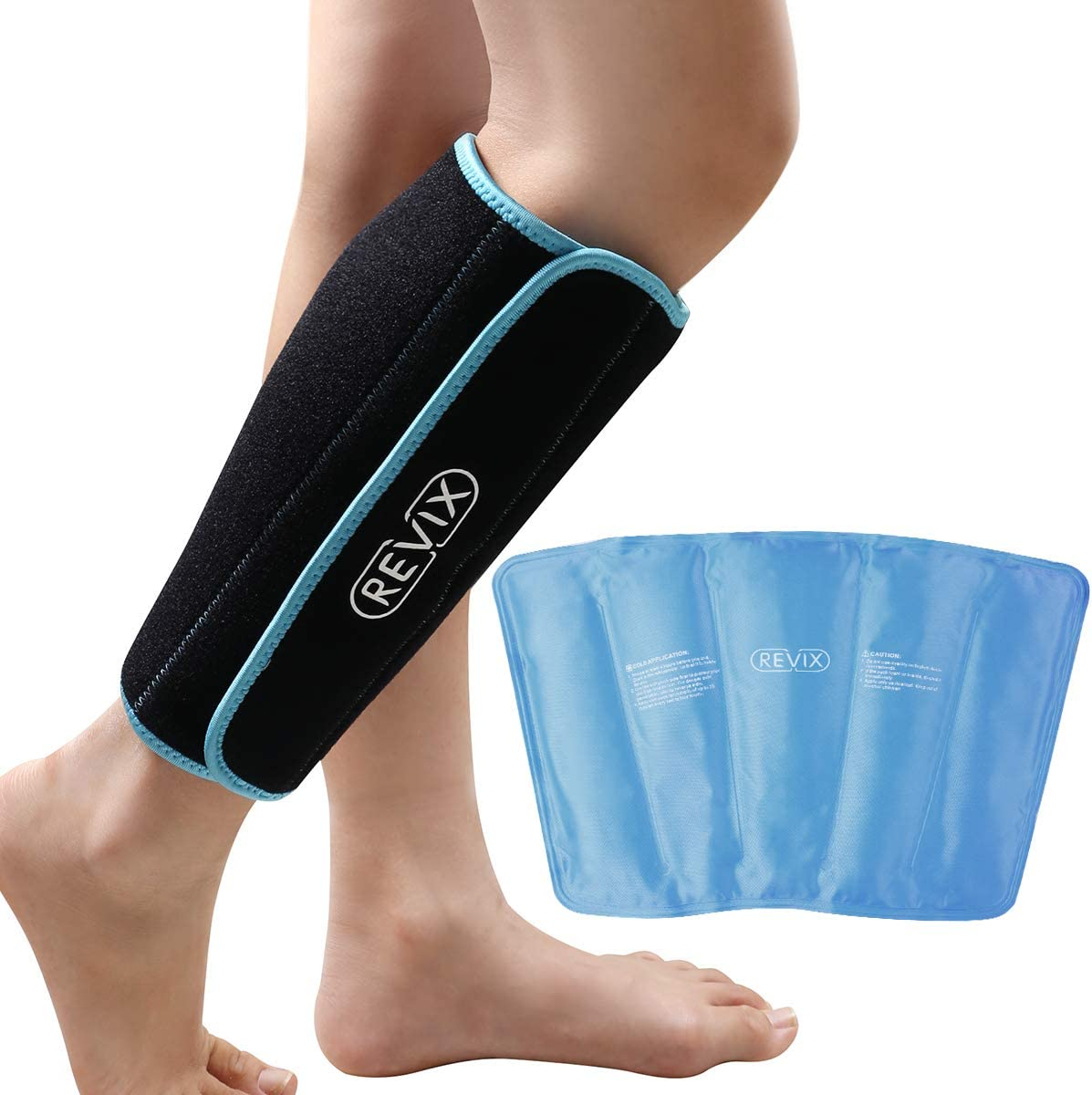 REVIX Calf and Shin Gel Ice Packs for Injuries Reusable Leg Cold Pack Wrap Cold Therapy Compression Sleeve for Swelling, Bruises, and Sprains, Shin Splints Leg Pain Relief Support: Health & Personal Care