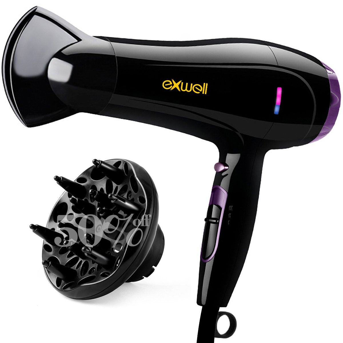 Hair Dryer with Diffuser, Exwell 1875W Lower Noise 75dB Professional Blow Dryer with 2 Speed and 3 Heat Settings,Fast Drying Hair Dryer for Home Travel purple