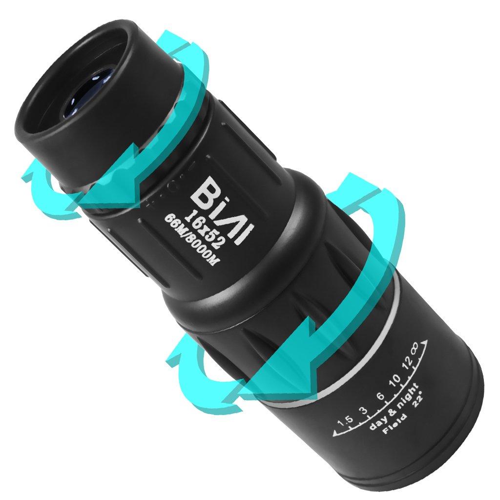 BIAL 16x52 Dual Focus Outdoor Monocular Telescope Optics Zoom Portable Scalable Telescopic Travel Golf Telescope 66m/ 8000m