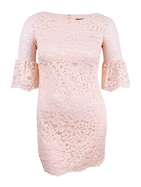 Vince Camuto Womens Lace Shift Dress With Bell Sleeves At
