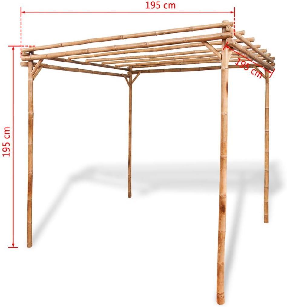 Festnight, Pérgola de jardín exterior de bambú 195 x 195 x 195 cm