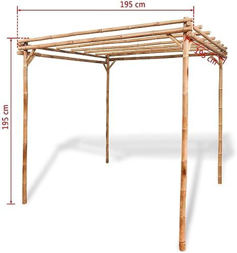 Festnight, Pérgola de jardín exterior de bambú 195 x 195 x 195 cm: Amazon.es: Hogar