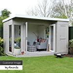 WALTONS-EST-1878-12x8-Wooden-Contemporary-Garden-Summerhouse-with-Side-Shed-Tongue-Groove-Construction-Dip-Treated-with-10-year-guarantee-Includes-Double-Doors-Pent-Roof-Floor-Roof-Felt-and-Styrene-Sa