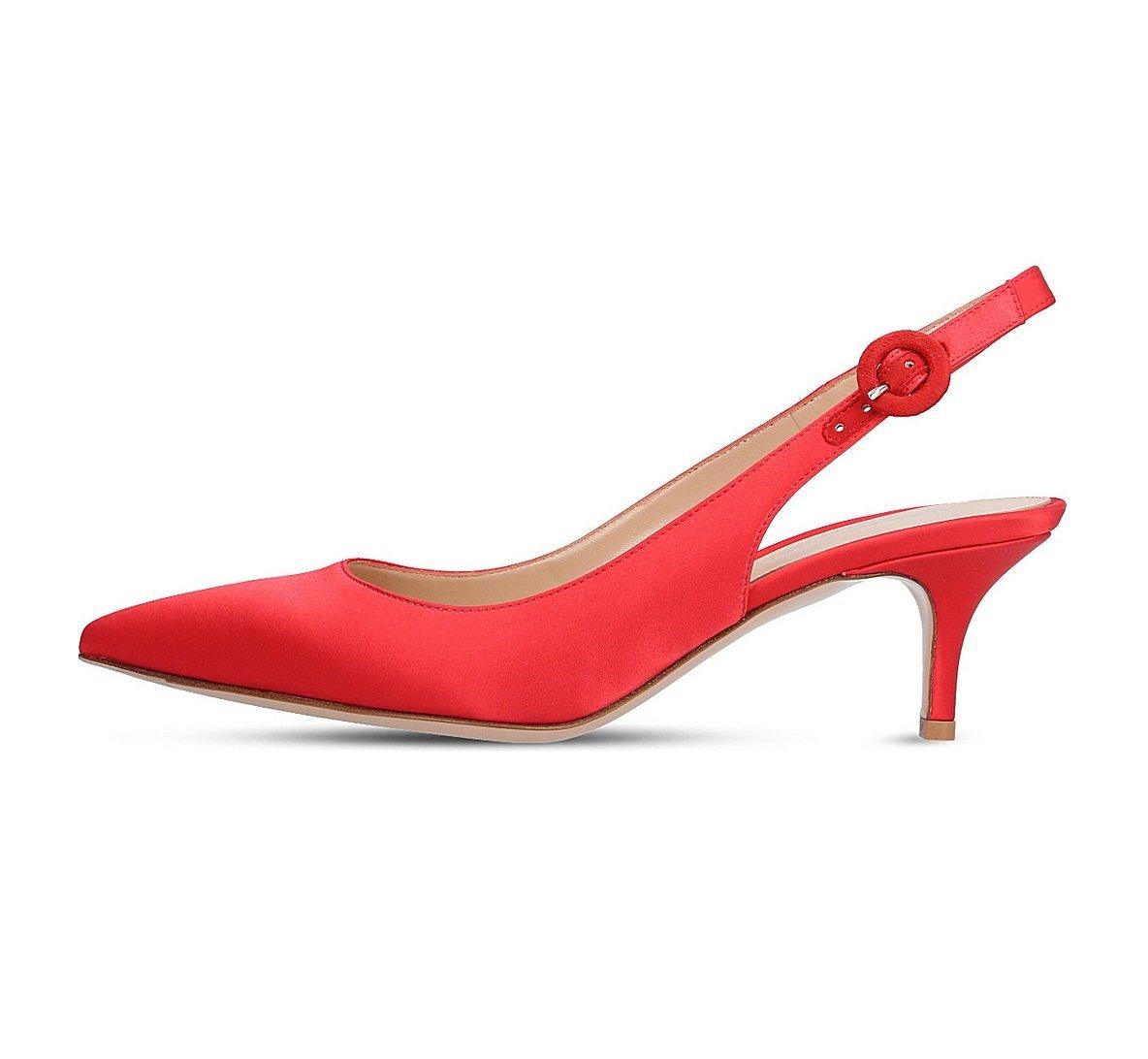 EDEFS Damen Kitten-Heel Slingback Pumps Spitze 6.5cm Mittlerer Absatz Pointed Toe Schuhe  44 EU|Rot Satin