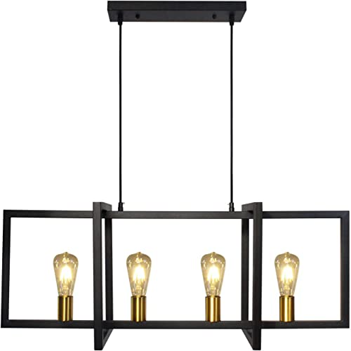 PUZHI HOME Black Industrial Kitchen Island Pendant Lighting, 4-Light Modern Hanging Lamp Contemporary Light Fixtures with Frame Brass Lamp E26 Socket for Kitchen Dining Room