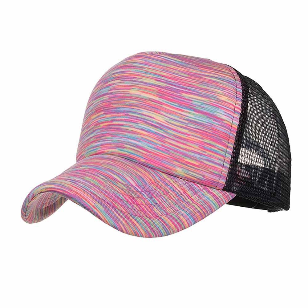 Sunyastor Summer Cap Camouflage Mesh Hats for Men Women Casual Hats Hip Hop High Bun Ponytail Adjustable Baseball Caps (A Orange, One Size)