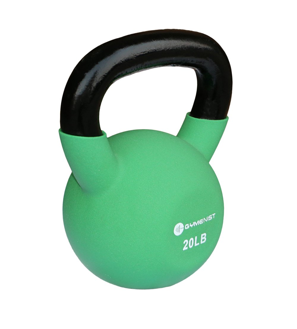 GYMENIST Kettlebell Fitness Iron Weights with Neoprene Coating Around The Bottom Half of The Metal Kettle Bell (20 LB)