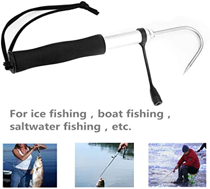Stainless Steel Saltwater Sharp Hook Aufee Retractable Fishing Gaff Telescopic Ice Fishing Gear Hook Tackle with Soft EVA Handle