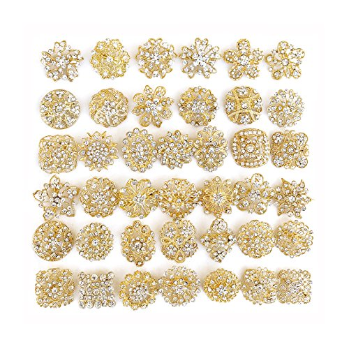 Your Perfect Gifts 40 pcs Gold Rhinestone Brooches Set Crystal Wedding Invitation Brooch Bouquet Wholesale Lot AMBR664