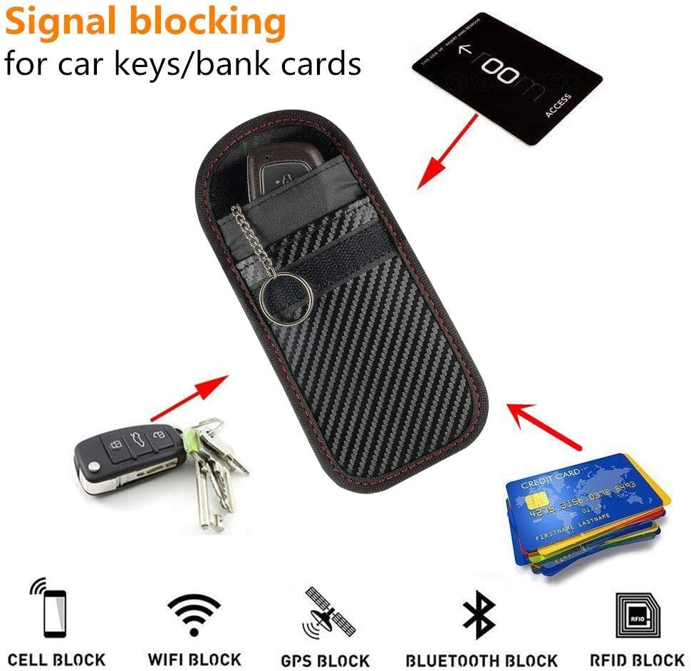 ZealBea Focus Car Key Signal Blocker Pouch Vehicle Keyless Entry RFID Blocking Bag for Car Keys and Credit Card Fob Guard//Anti Theft//Wifi NFC GSM LTE RF Block Faraday Case