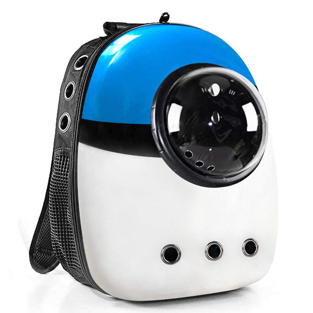 bluee-White Pet Space Capsule Carrier Backpack Minions Portable Travel Pet Carrier Backpack Pet Bubble Dome Waterproof for Cats Petite Dogs & Small Animals Red and bluee