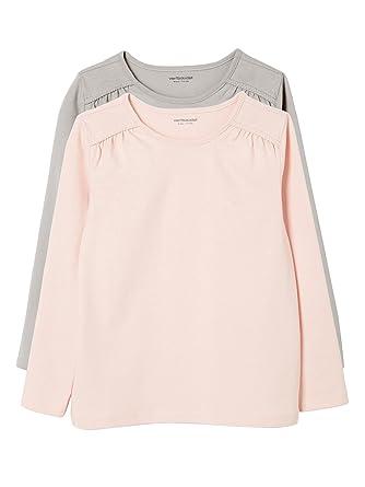 6ae7af932cc1 Vertbaudet Vertbaudet Happy Price 2er-Pack Langarm-Shirts für Mädchen, Uni  Langarmshirts  Amazon.de  Bekleidung