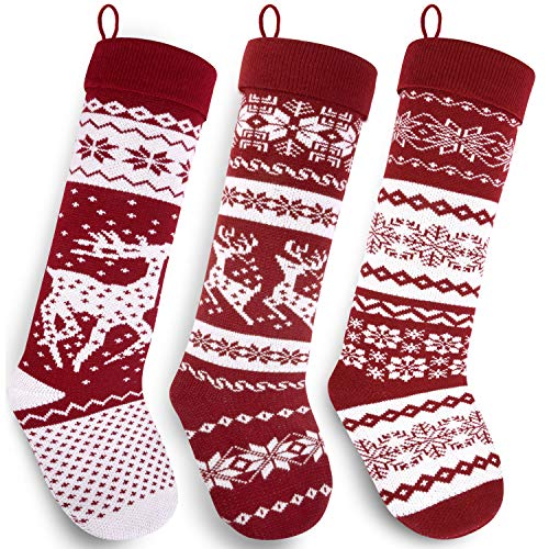Starry Dynamo Knit Christmas Stockings 26-Inch Extra Long Hand-Knitted Red/White Big & Little Reindeer Snowflakes Holiday Décor (3-Pack (Big Reindeer, Little Reindeer, Snowflakes), Extra Long 26
