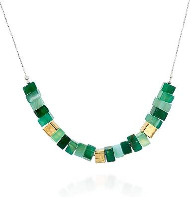 Tonos de verde Perla y collar de abalorios de plata