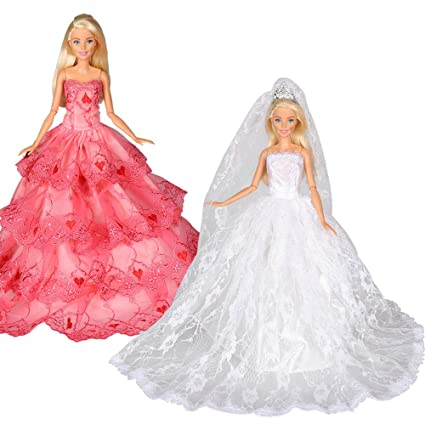 Tanosy Doll Gown Bride Dress White Wedding Dress with Crown Veil and Princess  Evening Party Wears fd98aaf27787