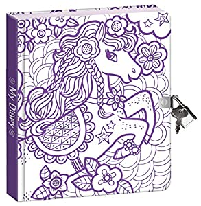 Peaceable Kingdom Pretty Pony Color In Shiny Foil Cover 625 Lock And Key Lined Page Diary For Kids