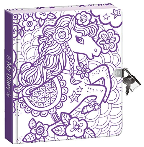 Peaceable Kingdom Pretty Pony Color-In Shiny Foil Cover 6.25 Lock and Key, Lined Page Diary for Kids