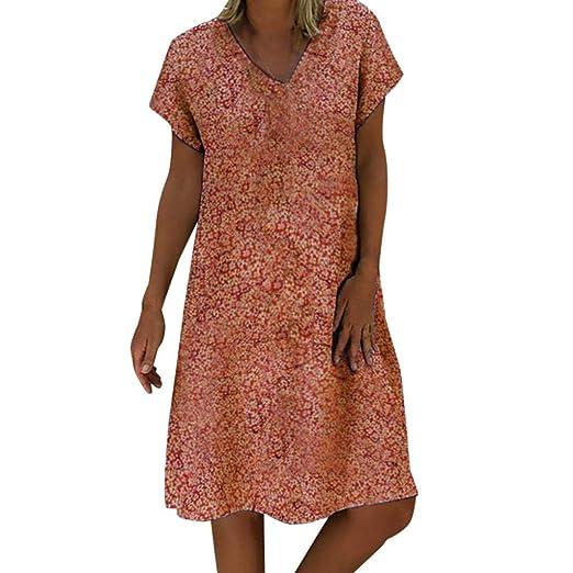 0ff97c6df09 Women Floral Printed Dresses V Neck Midi Dress Casual Loose Vintage Summer  Swing Sundress (Orange