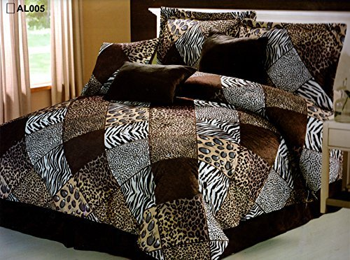 7 Pieces Multi Animal print Comforter set Queen size Bedding Brown, Black, White -Zebra, Leopard, Tiger, Cheetah - Zebra Print Cheetah And