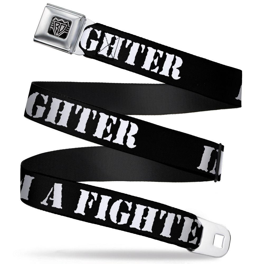 Buckle-Down Seatbelt Belt IM A FIGHTER Black//White 1.5 Wide 32-52 Inches in Length