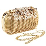Jian Ya Na Diamante Crystal Diamond Evening Bag Unique Clasp Clutch Purse Party Bridal Prom (Gold)