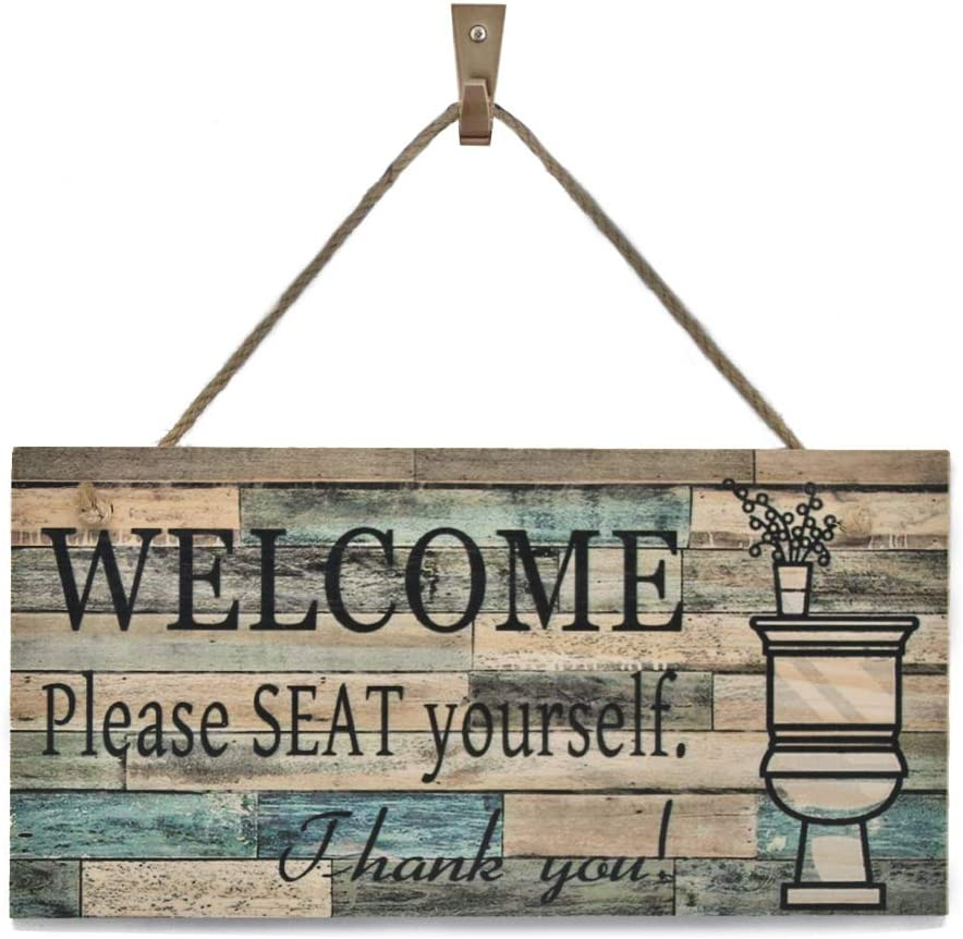 "OYEFLY Wall Art Sig Printed Wood Plaque Sign Wall Hanging Welcome Sign Please Seat yourself (11.5"" x 6"",colourful)"