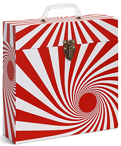 "TUNES-TOTE 'SWIRL RED' LP VINYL RECORD STORAGE CASE, 12"" - ALBUMS - 33-1/3 RECORD CARRY BOX"