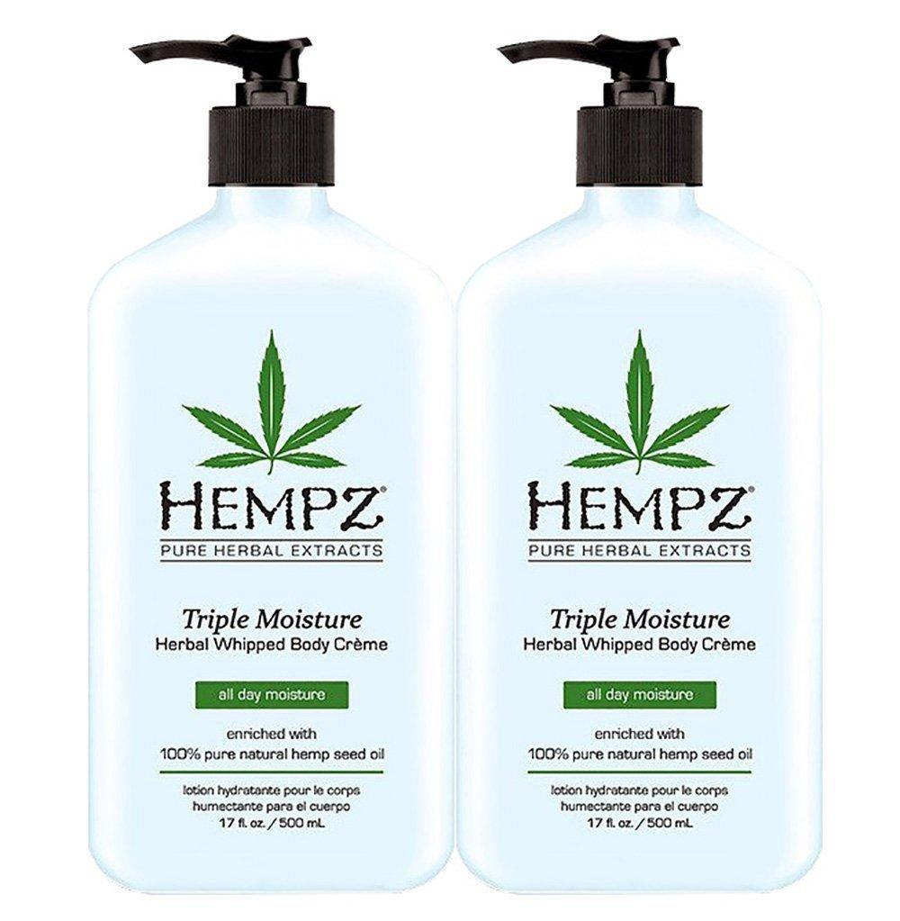 2 BOTTLES OF Hempz Herbal Moisturizer Triple Moisture 17 oz NEW 2014