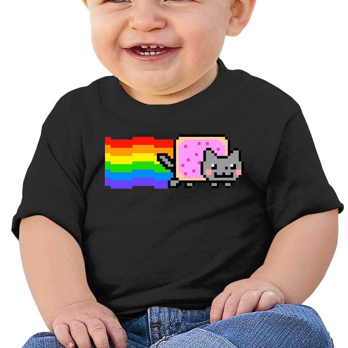 8-bits Pixel Nyan Cat Toddler Short-Sleeve Tee for Boy Girl Infant Kids T-Shirt On Newborn 6-18 Months