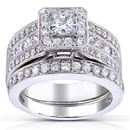 Coupe diamant de mariage de Lot de 15/8ct (CT) en or blanc 14K _ 4.5
