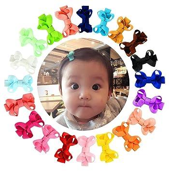 Amazon Com Yhxx Ylen 20pcs Small Baby Hair Bows Ribbon Clips For