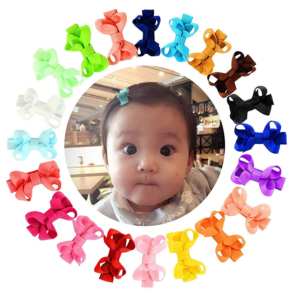 YHXX YLEN 20Pcs Small Baby Hair Bows Grosgrain Ribbon Baby Girls Clips 615-00-20