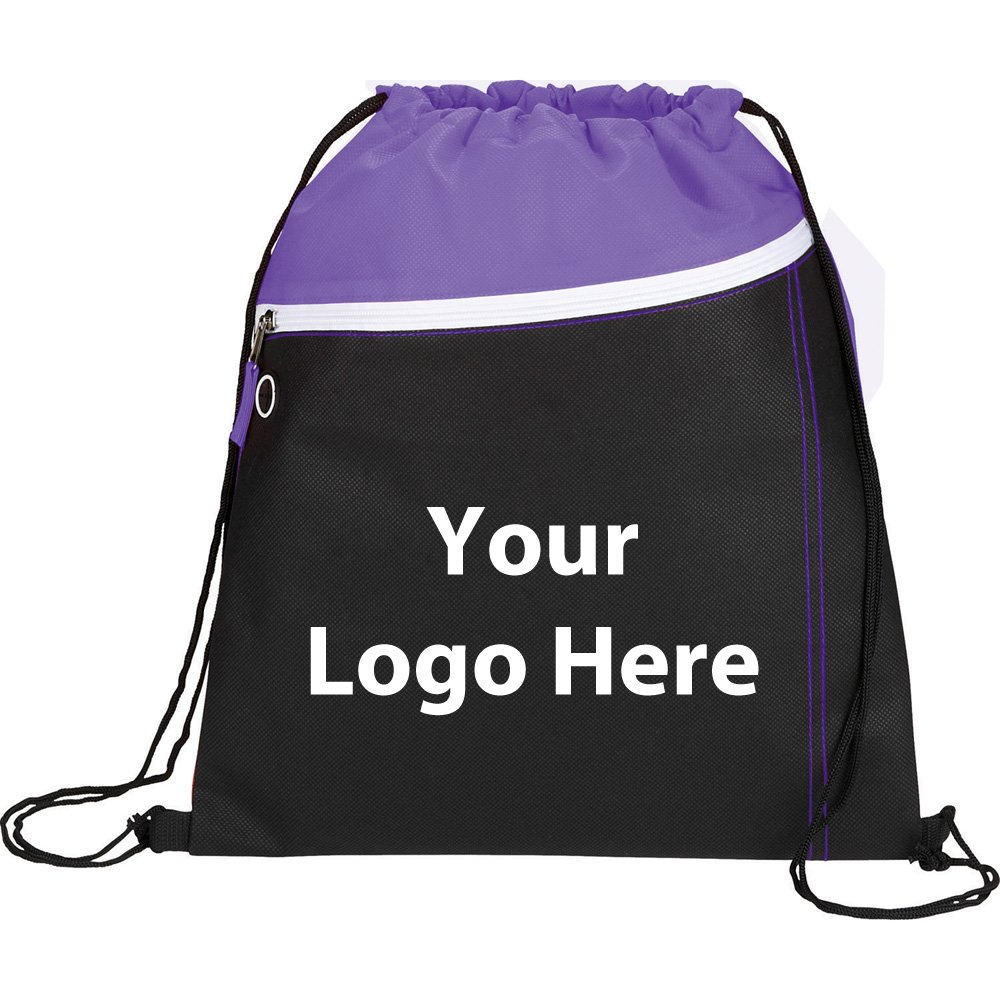Slant Front Pocket Drawstring Sportspack - 175 Quantity - $2.55 Each - PROMOTIONAL PRODUCT / BULK / BRANDED with YOUR LOGO / CUSTOMIZED