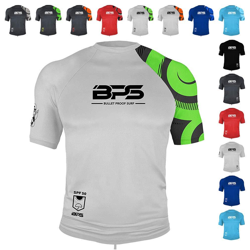 BPS Men's Short Sleeve Quick Dry Rash Guard UPF 50+ - White Lime, XXL by BPS