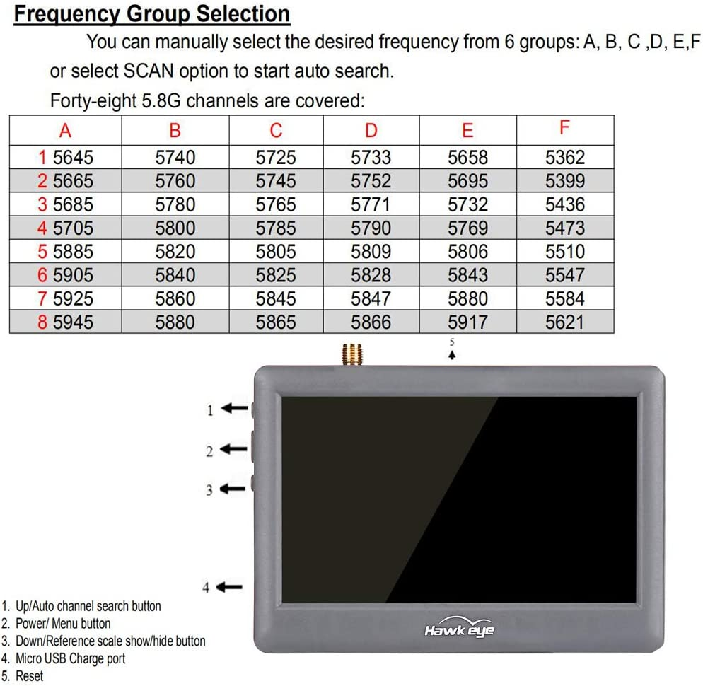 Little 5.8G Diversity LCD Screen Receiver Monitor 4.3 inch 48CH ...