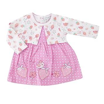 Mädchen Kleid Bolero-Optik weiß rosa Erdbeere 3-6 Monate (62/68 ...