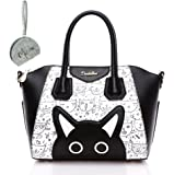 Micom Candy Color Cute Cat Shell Pu Leather Tote Bags Cross Body Shoulder Handbag for Women,girls
