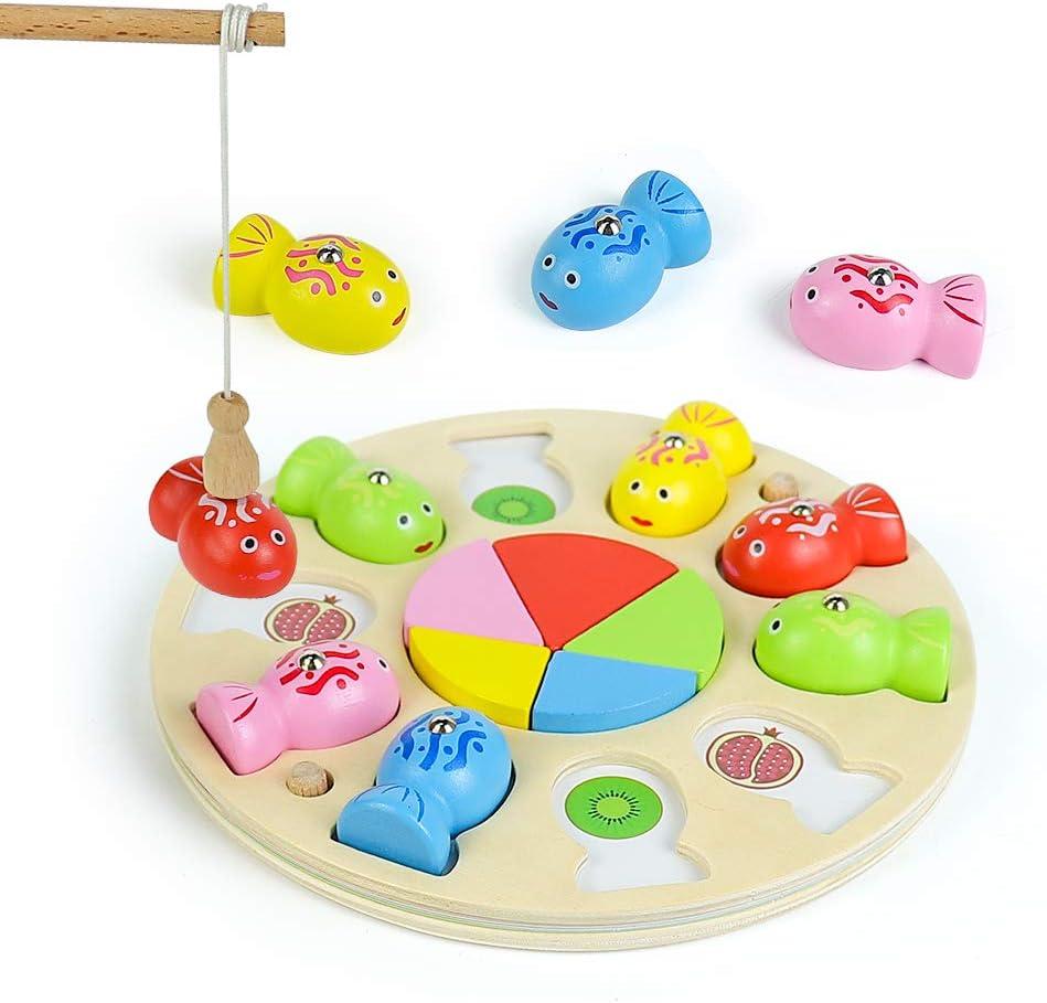 Fajiabao 3 en 1 Juego de Pescar para Niños Magnético de Madera con Mini Tangram - Juegos de Mesa para Niños Montessori Educativos Puzzle Infantiles Regalo Niñas Niños 3 4 5 6 Años