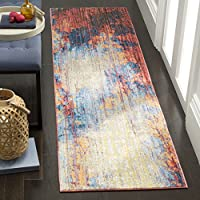 Safavieh Bristol Collection BTL354F Blue and Rust Modern Abstract Distressed Runner (23 x 8)