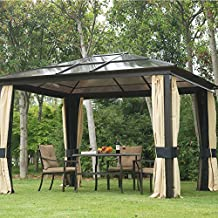 Outsunny 12'L x 10'W Hard Top Gazebo Canopy Sunshelter Waterproof Sun Shade with Sidewalls and Mosquito Netting