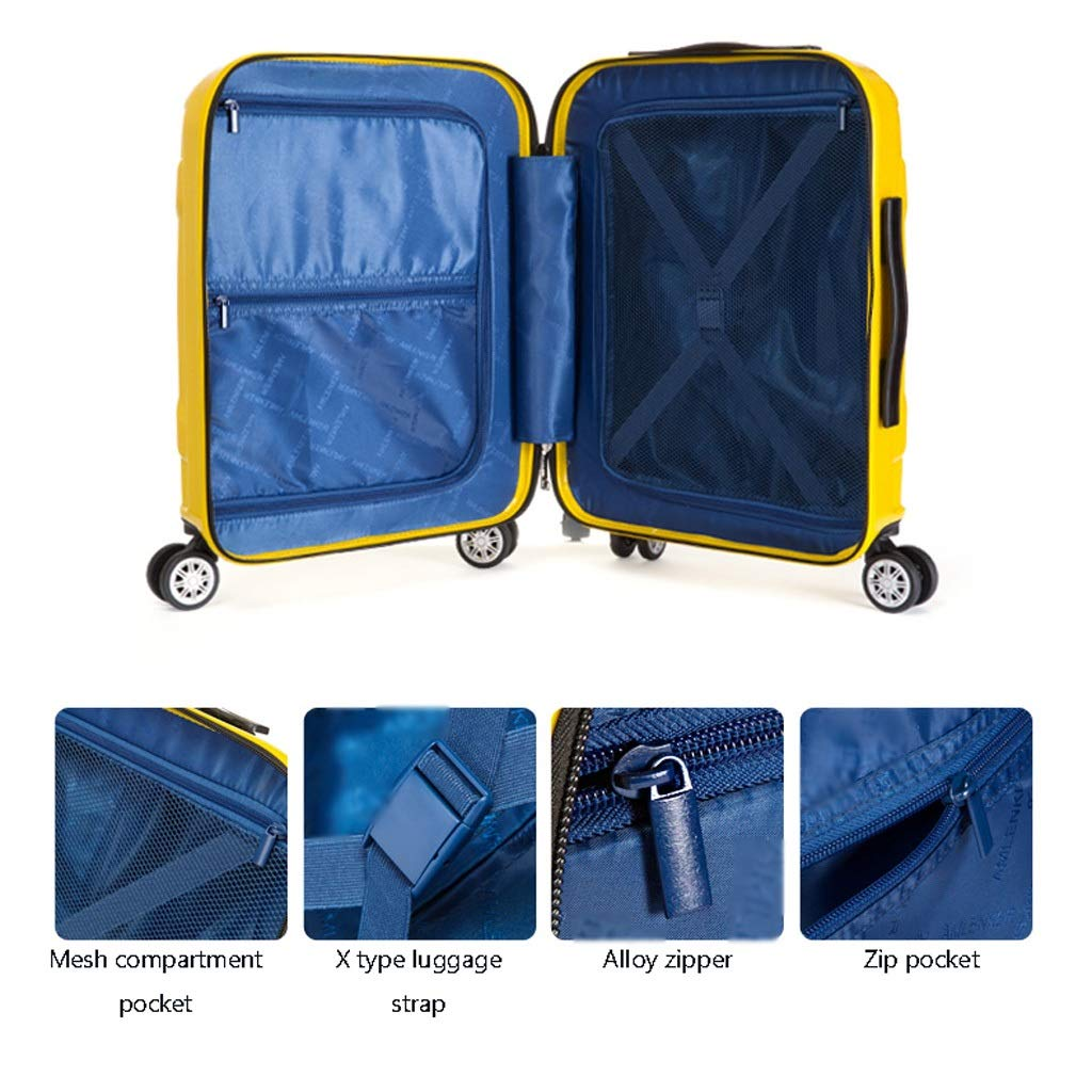 TangFei Universal Wheel Trolley case Luggage Small Fresh 24 inch Suitcase Color : Yellow