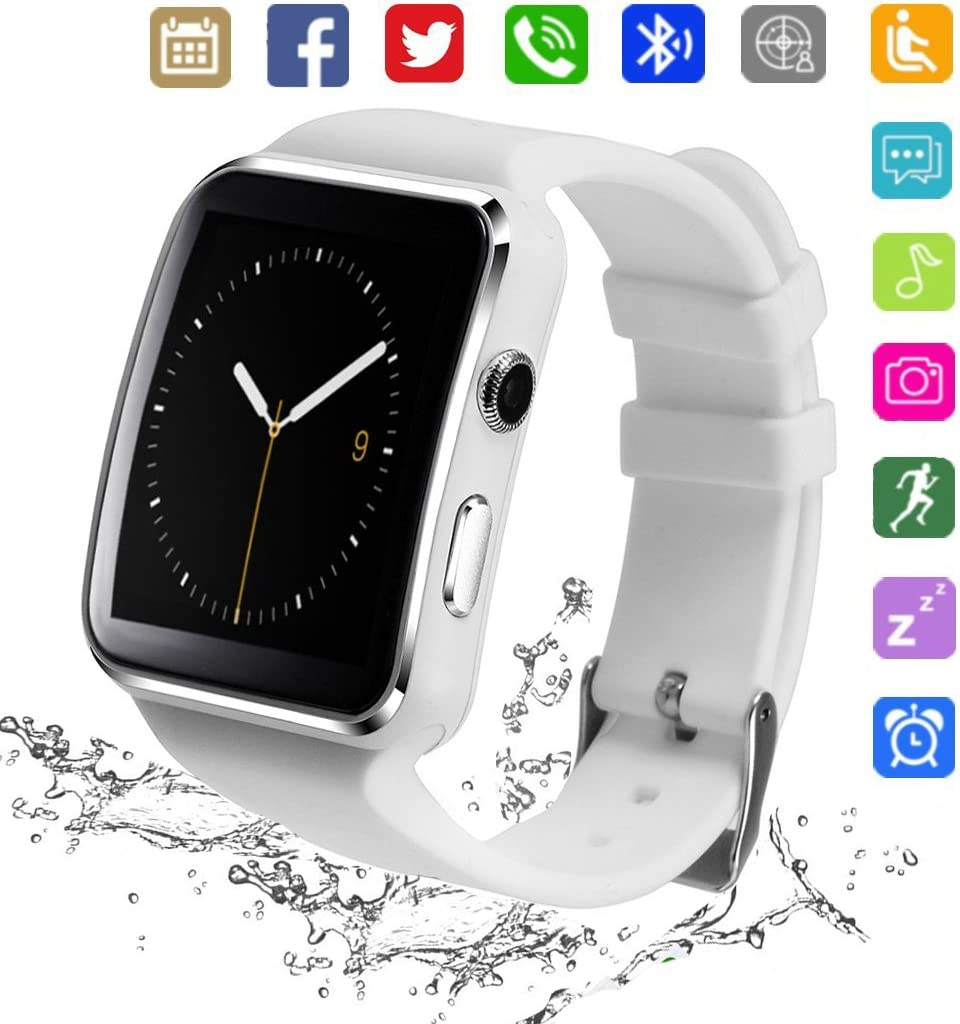 Bluetooth Smart Watch KKCITE Smartwatch Phone with SIM 2G GSM for Android Smartphones Support Sleep Monitor, Push Message, Camera Unlocked Watch Men Women Kids