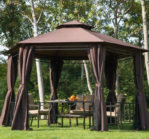 Outsunny - Toldo Hexagonal para jardín con Cortinas y Paredes de ...